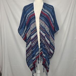 AMERICAN EAGLE stripe embroidered fringe poncho